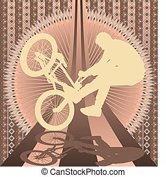 Vintage background bmx biker