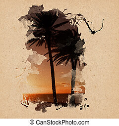 Vintage Background Design with palm trees