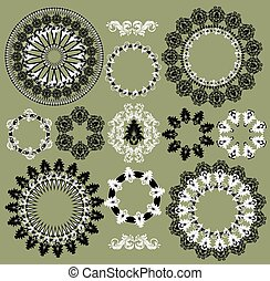 Vintage background elements with ornate elegant retro abstract circular floral design