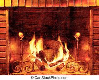 Vintage background fireplace