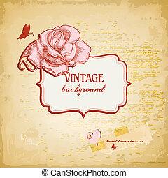 Vintage background, frame for text with rose vector illustration