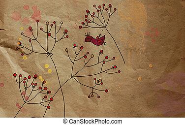 Vintage background greeting floral card on paper