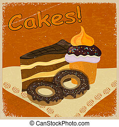 Vintage background image of a piece of cake and cookies on a napkin.