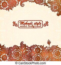 Vintage background in Indian henna mehndi style