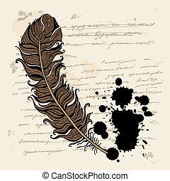 Vintage background ink text.