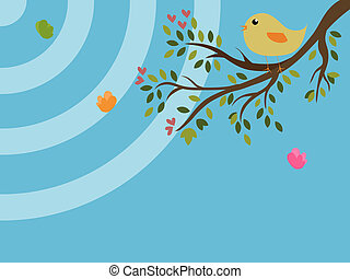 Vintage background of a bird on a tree