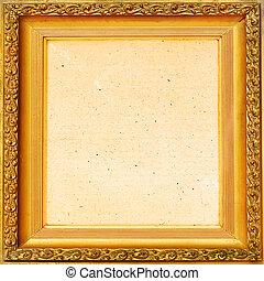 Vintage background old frame, gold leaf