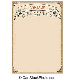 Vintage background on old paper with ornate frame and scroll