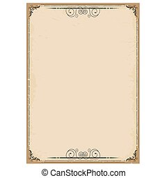 Vintage background on old paper with ornate frame