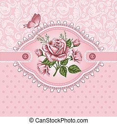 Vintage background - Pink romantic floral background with...