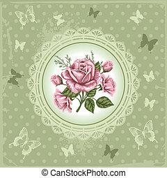 Vintage background - Romantic floral background with vintage...