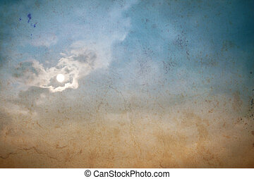 Romantic vintage background with clouds and moon