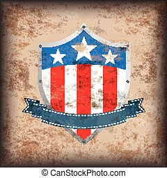 Vintage Background US Flag Shield