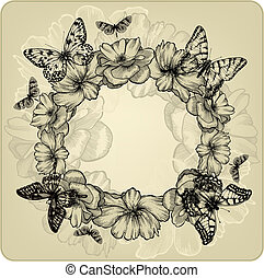 Vintage background with a wreath of roses and butterflies. Vector illustration.