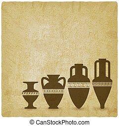 Vintage background with ancient Greek vases
