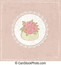Vintage background with basket of flowers