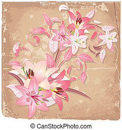 Vintage background with blooming with lilies