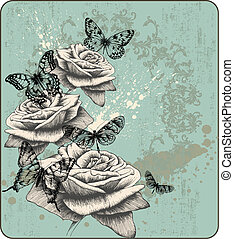 Vintage background with blooming with roses and butterflies,...