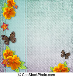 Vintage background with  butterfly and yellow fl