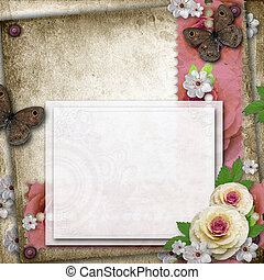 Vintage background with card, butterfly  and roses for congratulations and invitations