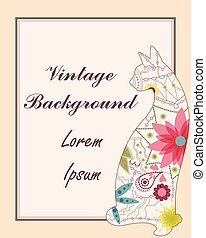 Vintage background with cat