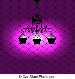 Vintage background with chandelier vector illustration