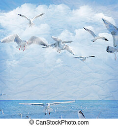 Vintage background with clouds and seagull