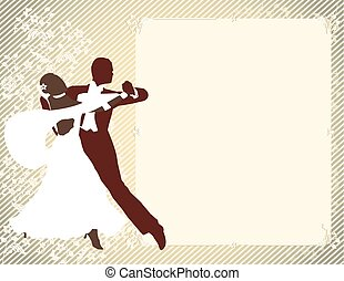Vintage background with dancing pair. vector drawing
