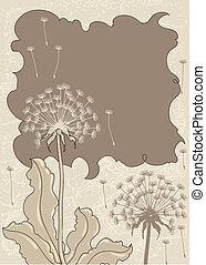 Vintage background with dandelions. Vector grunge card.