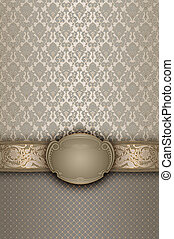 Vintage background with decorative ornament and frame.