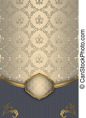 Vintage background with decorative patterns and frame.
