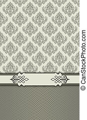 Vintage background with decorative border and patterns.