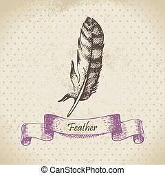 Vintage background with feather. Hand drawn illustration