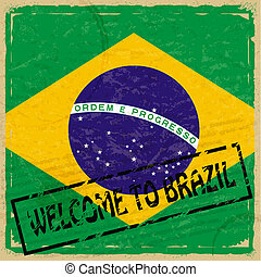 Vintage background with flag of Brazil