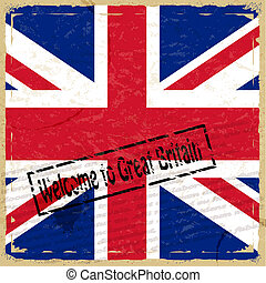 Vintage background with flag of Great Britain