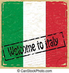 Vintage background with flag of Italy