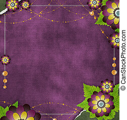 vintage  background with flowers in scrapb