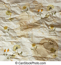 Vintage background with flowers on the paper