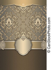 Vintage background with frame and decorative patterns.