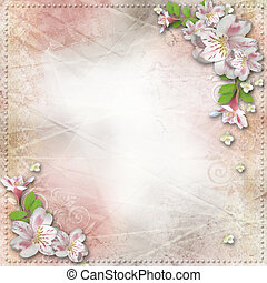 Vintage background with frame and flowers for congratulations and invitations