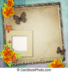 Vintage background with frame for photo, butterfly and yellow flowers