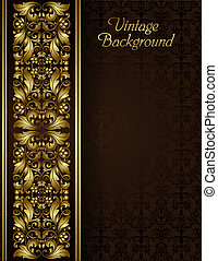 Vintage background with gold filigree border and seamless pattern