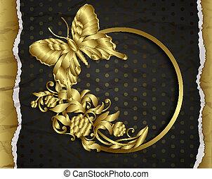 Vintage background with golden design elements