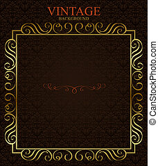 Vintage background with golden  frame