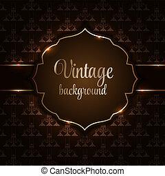 Vintage background with golden frame vector illustration