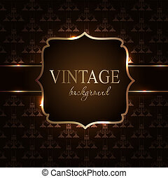 Vintage background with golden frame vector illustration