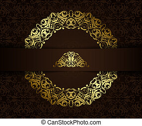 Vintage background with golden elements.Can be used for banner, invitation, wedding card, 