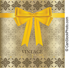 Vintage background with golden ribbon. Vector illustration.