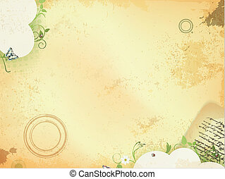Vintage background with green leaves and old letter