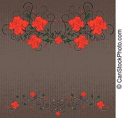 Vintage background with grunge elegant retro floral design